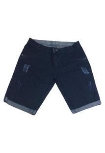 Bermuda Jeans Escuro Com Barra Dobrada