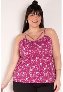 Blusa Floral Pink Com Alças Plus Size
