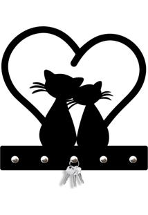 Porta Chaves Cat Love Love Decor Preto