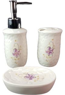 Jogo 3 Peças Banheiro Lavatório Escova Saboneteira Liquido Branca - Gdwy-0431