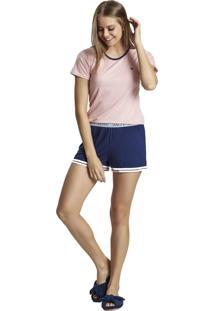Pijama Recco Curto Viscose Rosa - Tricae