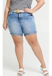 Bermuda Feminina Jeans Barra Dobrada Plus Size