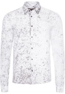 Camisa Masculina Estampa Manchas - Branco