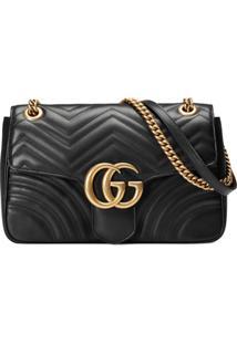 Gucci Bolsa Tiracolo 'Gg Marmont' Matelassê Média - Preto