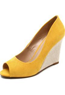 Peep Toe Fiveblu Anabela Amarelo