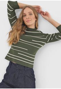 Blusa Bobstore Tricot Listrado Verde