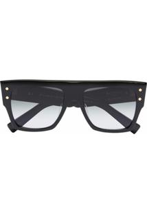 Balmain Eyewear Óculos De Sol Quadrado Oversized - Preto