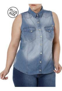527efeb3aa Camisa Jeans Regata Plus Size Feminina Azul