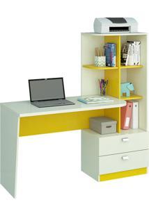 Mesa Para Computador Permóbili Móveis Elisa 2 Gavetas Branca/Amarela