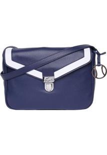 Bolsa Em Couro Com Recortes- Azul Marinho & Branca- Lacoste