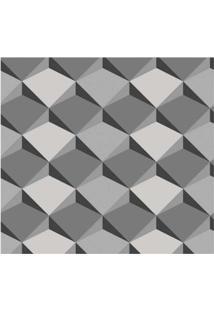 Papel De Parede Geométrico Cinza E Preto Allegra 3D Vinílico 53Cm X 10M Muresco