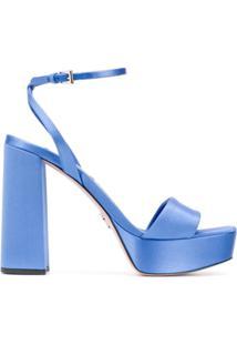 Prada Sandália Salto Bloco De 70Mm - Azul