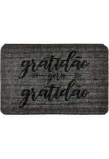 Capacho Carpet Gratidão Gera Gratidão Cinza Único Love Decor