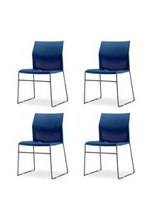 Kit 4 Cadeiras Connect Assento Azul Base Fixa Preta - 57588 Azul