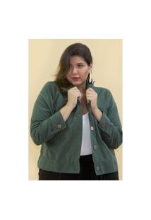 Jaqueta Curta Plus Size Verde Jaqueta Curta Plus Size Verde M Kaue Plus Size