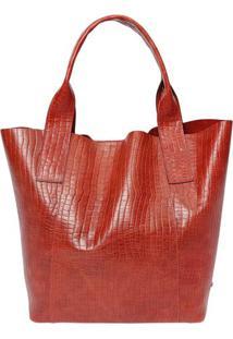 Bolsa Em Couro Texturizado - Vermelha- 38X46X17Cm Griffazzi