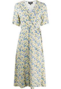 A.P.C. Vestido Envelope Floral - Amarelo