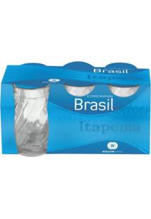 Conjunto De Copos De Vidro Brasil Itapema Com 06 Unidades