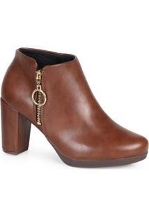 Ankle Boots Feminina Conforto Argola Café