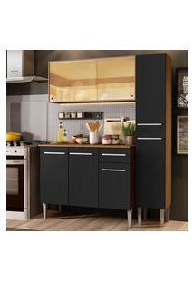 Cozinha Compacta Madesa Emilly Gold Com Armário, Balcáo E Paneleiro - Rustic/Preto Marrom