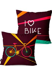 Kit Pump Up Com 2 Capas Para Almofadas Decorativas Roxo I Love Bike 45X45Cm