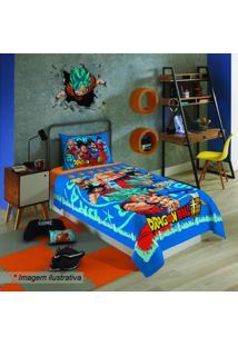 Jogo De Cama Dragon Ball® - Solteiro- Azul & Vermelho