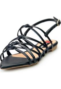 Sandalia Love Shoes Rasteira Bico Folha Trançado Nó Básica Preto - Tricae