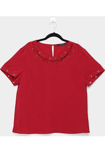 Blusa Lemise Plus Size Ilhós Feminina - Feminino-Vermelho