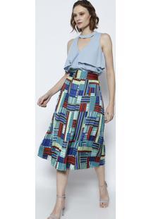 Blusa Lisa Com Vazado & Recorte- Azul Clarotvz