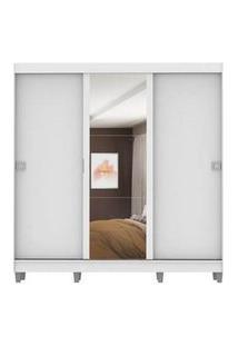 Guarda-Roupa Casal Madesa Napoli 3 Portas De Correr Central Com Espelho Com Pés Branco 5102616C1
