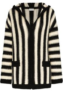 Saint Laurent Striped Hooded Cardigan - Preto