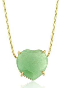 Colar Toque De Joia Coração Pedra Natural Quartzo Verde - Feminino-Dourado