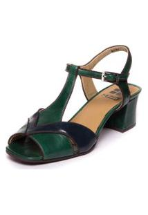 Sandalia Verde Brigitte Em Couro - Esmeralda / Passiflora / Cafe 5394