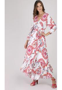 Vestido Feminino Longo Transpassado Estampado De Arabescos Manga 7/8 Off White
