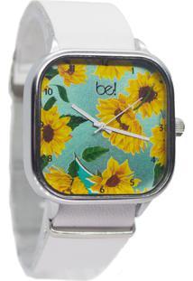 Relógio Bewatch Pulseira De Couro Branco Girassol