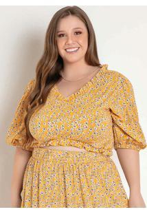 Cropped Floral Amarelo Com Frufru Plus Size