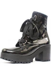 Bota Damannu Shoes Gwen Verniz Feminina - Feminino-Preto