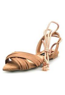 Sandalia Rasteira Love Shoes Bico Folha Amarraçáo Cruzada Caramelo