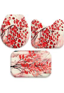 Jogo Tapate Love Decors Para Banheiro Flowers Red Único Vermelho - Kanui