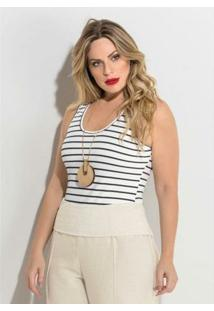 Body Listrado Sem Mangas Plus Size Quintess - Feminino-Branco