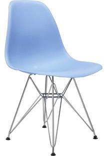 Cadeira Eiffel Sem Br Azul Bali Base Cromada Rivatti Móveis