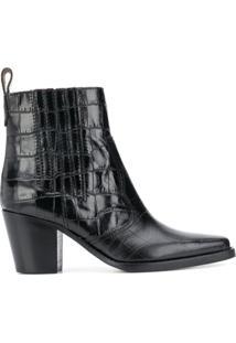 Ganni Ankle Boot Western - Preto