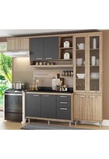 Cozinha Completa Multimóveis Com 6 Peças Sicília 5817 Argila/Grafite