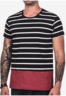 Camiseta Listrada Barra Vinho 101972
