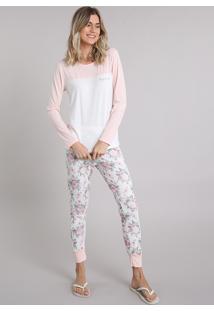 1e5ed76ce CEA. Pijama Poliester Elastano Viscose Off White Embutir Estampado Com Manga  Longa Feminino ...