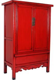 Armário Chinês De Madeira Vermelho Mique