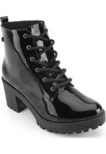 Bota Coturno Ramarim Ankle Boot Verniz Feminina - Feminino-Preto