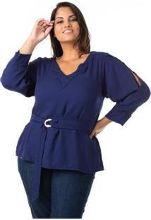 Blusa Em Crepe Com Cinto Plus Size Confidencial Extra Feminina - Feminino-Azul