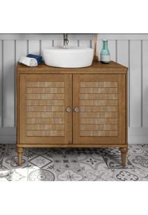 Gabinete Para Banheiro 2 Portas Rústico P E C Artemobili Garapa/Garapa Bianco