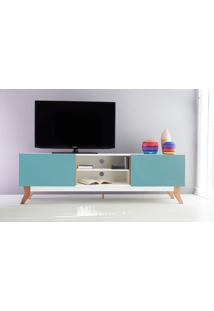 Rack Tv Vintage 1800 Mdf Branco 2 Portas Azul - 180X44X55 Cm